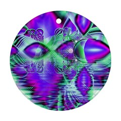 Violet Peacock Feathers, Abstract Crystal Mint Green Round Ornament (two Sides) by DianeClancy