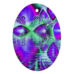 Violet Peacock Feathers, Abstract Crystal Mint Green Oval Ornament (two Sides) by DianeClancy