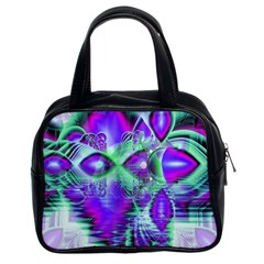 Violet Peacock Feathers, Abstract Crystal Mint Green Classic Handbag (two Sides) by DianeClancy