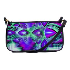 Violet Peacock Feathers, Abstract Crystal Mint Green Evening Bag