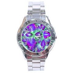 Violet Peacock Feathers, Abstract Crystal Mint Green Stainless Steel Watch by DianeClancy