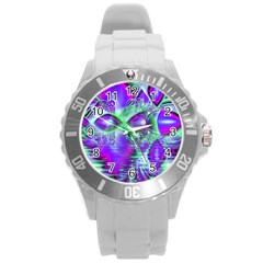 Violet Peacock Feathers, Abstract Crystal Mint Green Plastic Sport Watch (large) by DianeClancy