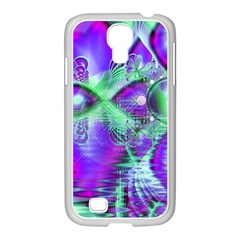 Violet Peacock Feathers, Abstract Crystal Mint Green Samsung Galaxy S4 I9500/ I9505 Case (white) by DianeClancy