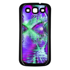 Violet Peacock Feathers, Abstract Crystal Mint Green Samsung Galaxy S3 Back Case (black) by DianeClancy