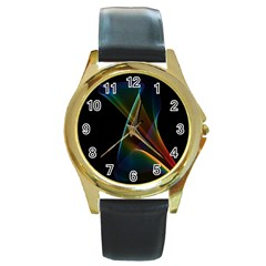 Abstract Rainbow Lily, Colorful Mystical Flower  Round Leather Watch (gold Rim)  by DianeClancy