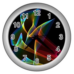 Peacock Symphony, Abstract Rainbow Music Wall Clock (silver) by DianeClancy