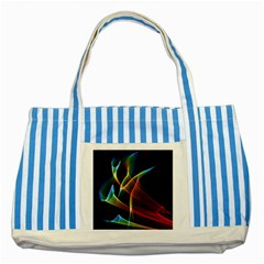 Peacock Symphony, Abstract Rainbow Music Blue Striped Tote Bag by DianeClancy