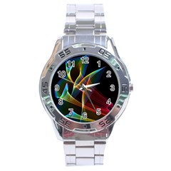 Peacock Symphony, Abstract Rainbow Music Stainless Steel Watch by DianeClancy