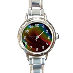 Liquid Rainbow, Abstract Wave Of Cosmic Energy  Round Italian Charm Watch by DianeClancy