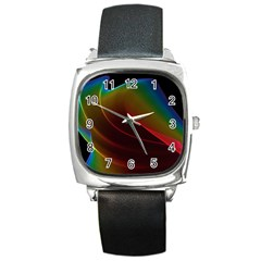 Liquid Rainbow, Abstract Wave Of Cosmic Energy  Square Leather Watch by DianeClancy