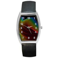 Liquid Rainbow, Abstract Wave Of Cosmic Energy  Tonneau Leather Watch