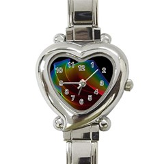 Liquid Rainbow, Abstract Wave Of Cosmic Energy  Heart Italian Charm Watch  by DianeClancy