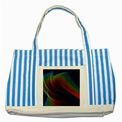 Liquid Rainbow, Abstract Wave Of Cosmic Energy  Blue Striped Tote Bag by DianeClancy