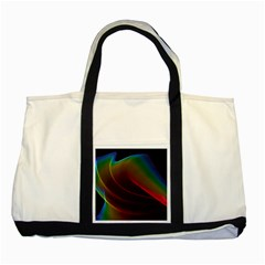 Liquid Rainbow, Abstract Wave Of Cosmic Energy  Two Toned Tote Bag by DianeClancy