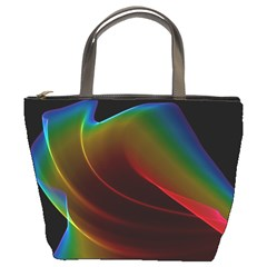 Liquid Rainbow, Abstract Wave Of Cosmic Energy  Bucket Handbag by DianeClancy