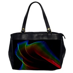 Liquid Rainbow, Abstract Wave Of Cosmic Energy  Oversize Office Handbag (one Side) by DianeClancy