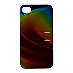 Liquid Rainbow, Abstract Wave Of Cosmic Energy  Apple Iphone 4/4s Hardshell Case With Stand by DianeClancy
