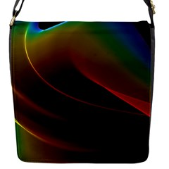 Liquid Rainbow, Abstract Wave Of Cosmic Energy  Flap Closure Messenger Bag (small) by DianeClancy