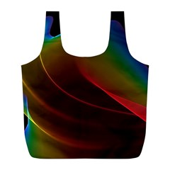 Liquid Rainbow, Abstract Wave Of Cosmic Energy  Reusable Bag (l) by DianeClancy