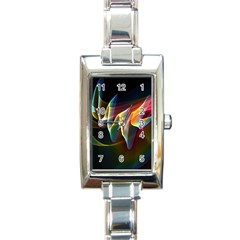 Northern Lights, Abstract Rainbow Aurora Rectangular Italian Charm Watch by DianeClancy