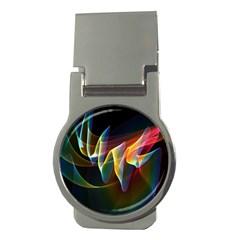 Northern Lights, Abstract Rainbow Aurora Money Clip (round) by DianeClancy