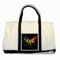 Northern Lights, Abstract Rainbow Aurora Two Toned Tote Bag by DianeClancy
