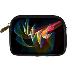 Northern Lights, Abstract Rainbow Aurora Digital Camera Leather Case by DianeClancy