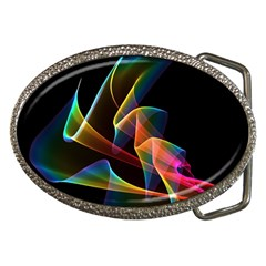 Crystal Rainbow, Abstract Winds Of Love  Belt Buckle (oval) by DianeClancy