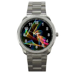 Crystal Rainbow, Abstract Winds Of Love  Sport Metal Watch by DianeClancy