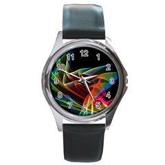 Dancing Northern Lights, Abstract Summer Sky  Round Leather Watch (Silver Rim) by DianeClancy