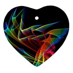 Dancing Northern Lights, Abstract Summer Sky  Heart Ornament by DianeClancy