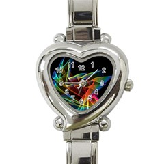 Dancing Northern Lights, Abstract Summer Sky  Heart Italian Charm Watch  by DianeClancy