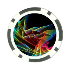 Dancing Northern Lights, Abstract Summer Sky  Poker Chip by DianeClancy