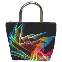 Dancing Northern Lights, Abstract Summer Sky  Bucket Handbag by DianeClancy