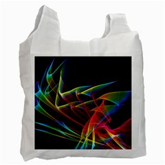 Dancing Northern Lights, Abstract Summer Sky  White Reusable Bag (two Sides) by DianeClancy