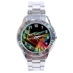 Dancing Northern Lights, Abstract Summer Sky  Stainless Steel Watch by DianeClancy