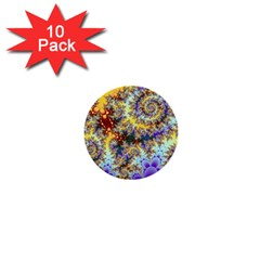 Desert Winds, Abstract Gold Purple Cactus  1  Mini Button (10 Pack) by DianeClancy