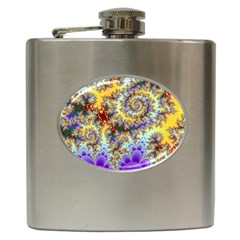 Desert Winds, Abstract Gold Purple Cactus  Hip Flask by DianeClancy