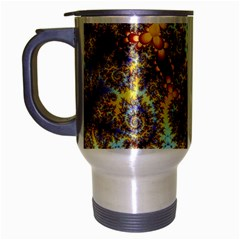Desert Winds, Abstract Gold Purple Cactus  Travel Mug (silver Gray) by DianeClancy