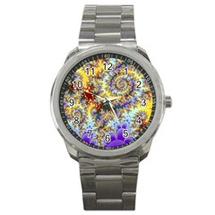 Desert Winds, Abstract Gold Purple Cactus  Sport Metal Watch by DianeClancy