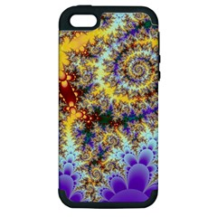Desert Winds, Abstract Gold Purple Cactus  Apple Iphone 5 Hardshell Case (pc+silicone) by DianeClancy
