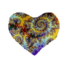 Desert Winds, Abstract Gold Purple Cactus  16  Premium Heart Shape Cushion  by DianeClancy