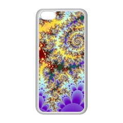 Desert Winds, Abstract Gold Purple Cactus  Apple Iphone 5c Seamless Case (white)