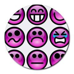 Chronic Pain Emoticons 8  Mouse Pad (round) by FunWithFibro