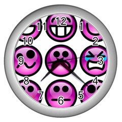 Chronic Pain Emoticons Wall Clock (silver) by FunWithFibro