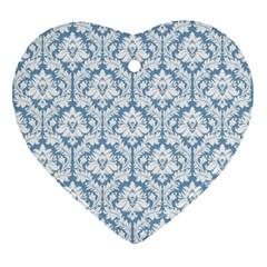 White On Light Blue Damask Heart Ornament by Zandiepants