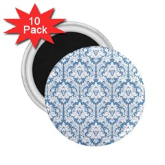 White On Light Blue Damask 2.25  Button Magnet (10 pack) by Zandiepants