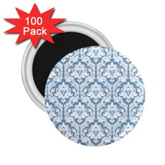 White On Light Blue Damask 2 25  Button Magnet (100 Pack) by Zandiepants