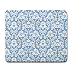 White On Light Blue Damask Large Mouse Pad (Rectangle) by Zandiepants