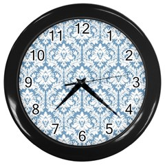 White On Light Blue Damask Wall Clock (black) by Zandiepants